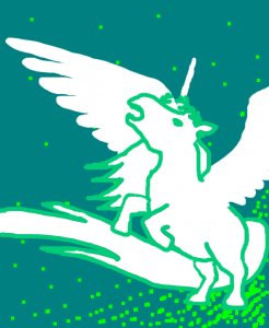 Pony with ridiculously short legs, a horn, and feathered wings, using her ultimate attack